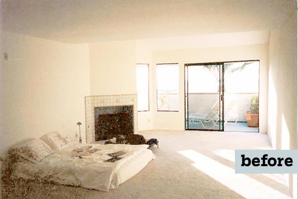 before remodel light blue bedroom remodel with fireplace and sitting area