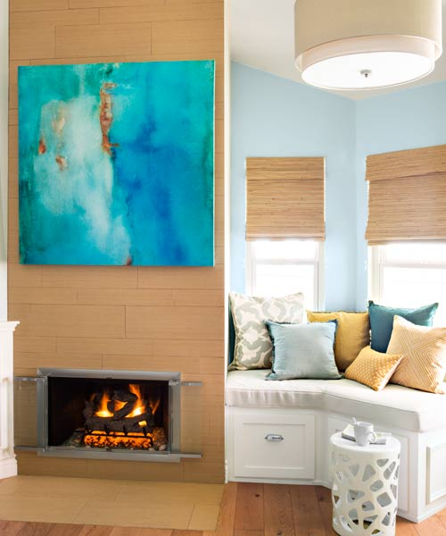 fireplace with ceiling tall tile, after remodel light blue bedroom remodel with fireplace and sitting area