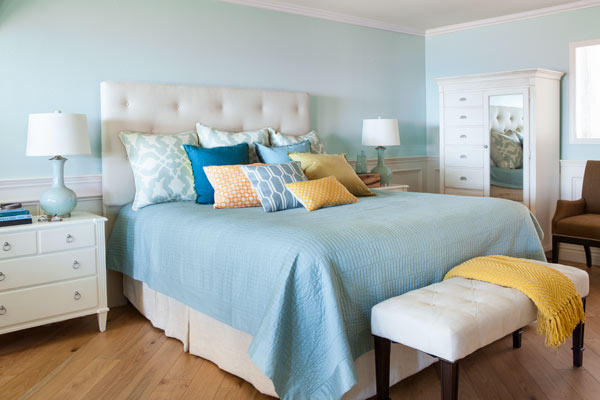 bed with custom headboard, after remodel light blue bedroom remodel with fireplace and sitting area