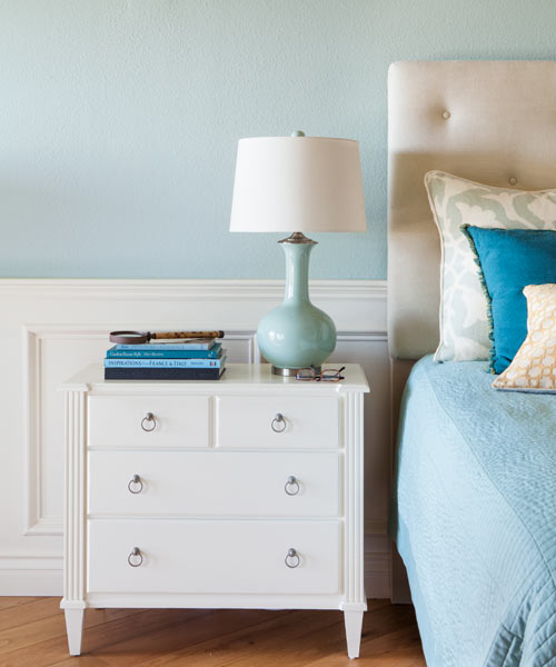 white wainscoting and trim, after remodel light blue bedroom remodel with fireplace and sitting area