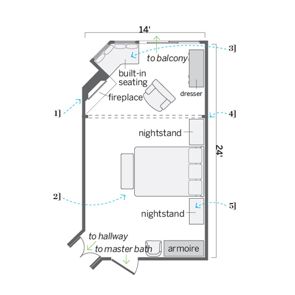 after floor plan, after remodel light blue bedroom remodel with fireplace and sitting area