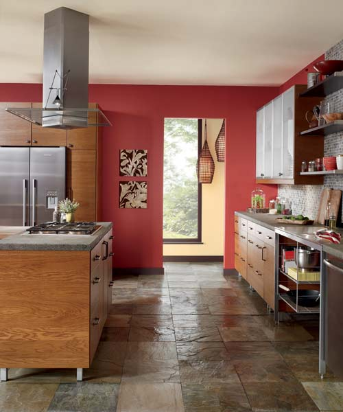 Modern cookspace color of the month june 2014 cayenne for Accent wall color ideas for kitchen