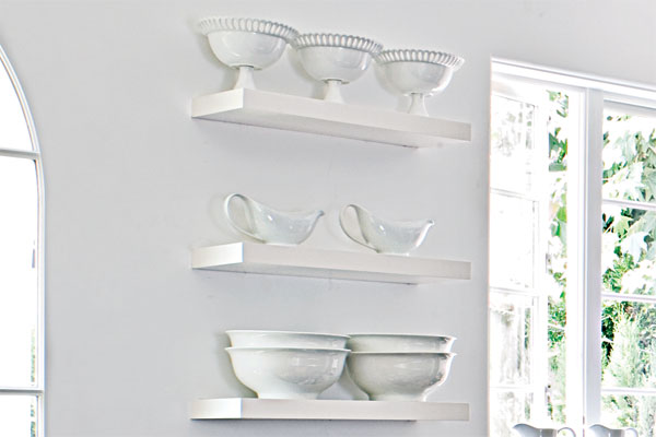 Floating Shelves as an example of a creative kitchen upgrade