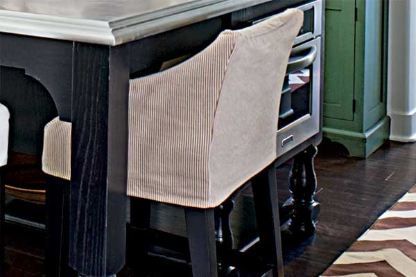 Tailored Slipcovers as an example of a creative kitchen upgrade
