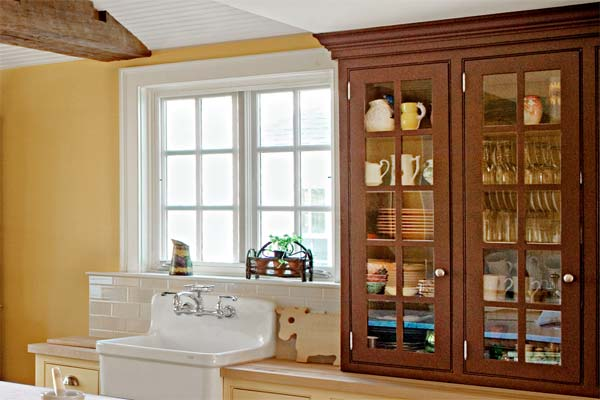 Glass-Front Hutch as an example of a creative kitchen upgrade