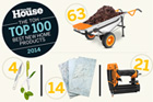 pictures of a wheelbarrow, plant scissors, slate tiles, and a nail gun illustrating The TOH TOP 100 Best New Home Products