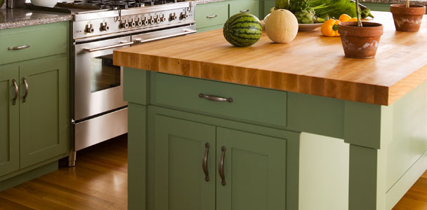 butcher block countertop on a kitchen island