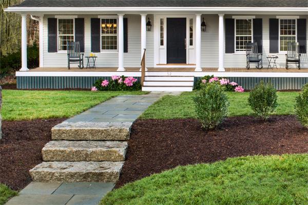 Bluestone walkway and ornamental shrubs the lexington for Bluestone front porch