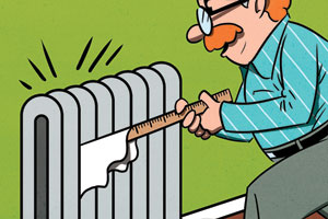 illustration of a man in glasses using a yardstick and rag to clean between radiator coils