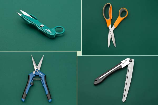 four examples of small pruning tools on a green background