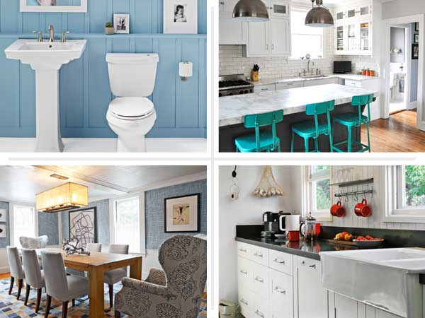 composite of four interiors to introduce the Designers' Favorite Basics gallery