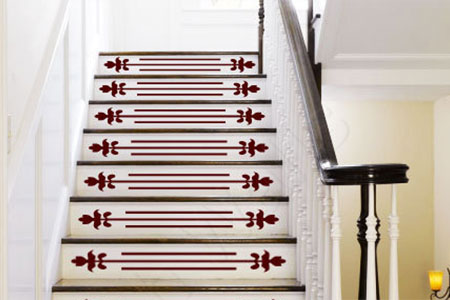 stair risers with vinyl decals