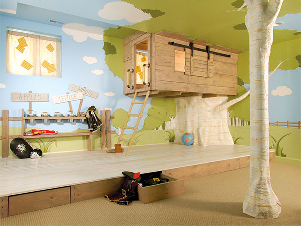 Indoor treehouse 8 creative design ideas from outrageous for Treehouse kids room