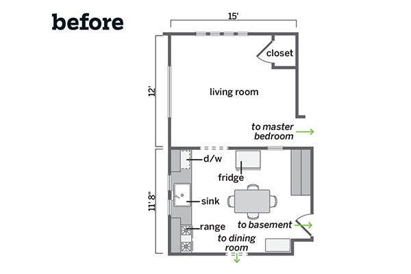 Floor plan before closed in space homespun heirloom for Closed kitchen floor plans