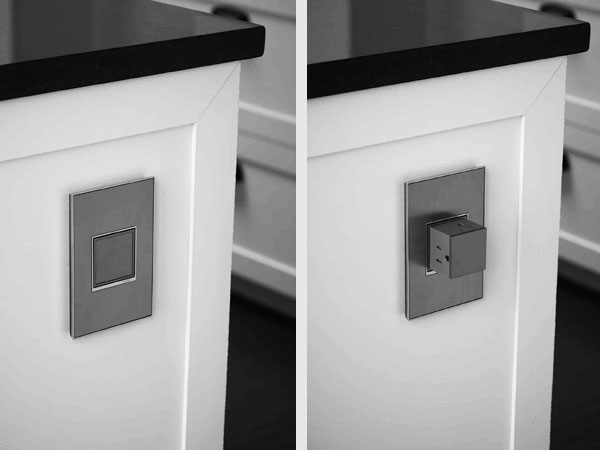 Split Image Showing A Pop Out Wall Outlet Set Into The
