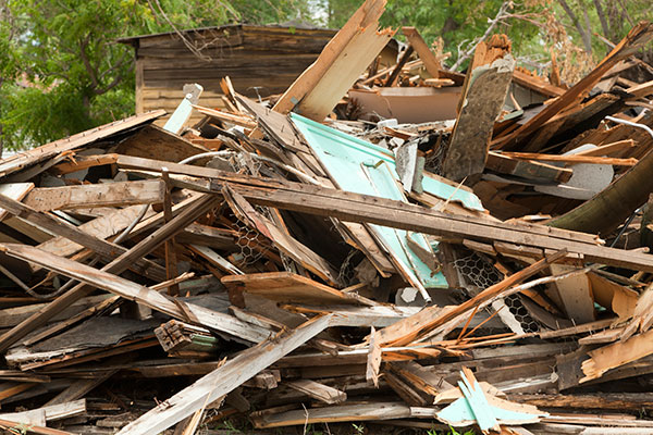 a pile of wood debris