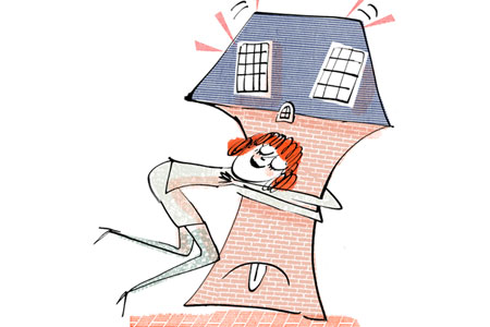 a cartoon illustration of a woman squeezing her house to death, with a tongue sticking out at the base and windows that look like shocked eyes