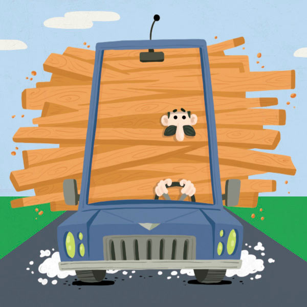 illustration of a man dangerously driving a car full of lumber on a road