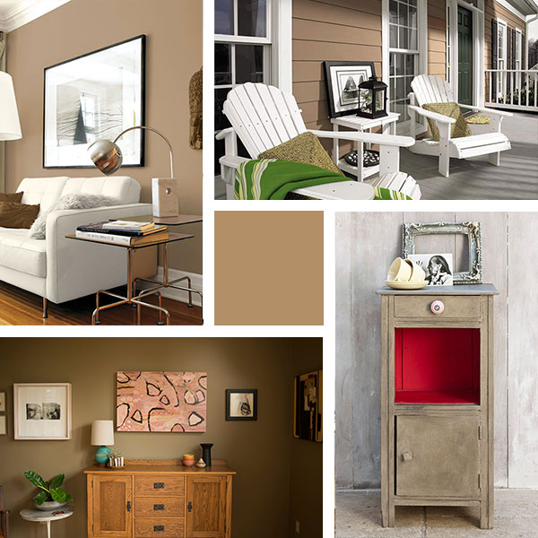 4 types of interiors with the Pantone color, iced coffee