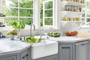 kitchen remodel with focus on farmhouse basin sink