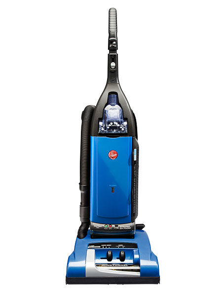 blue and black, upright vacuum cleaner stands against a white background