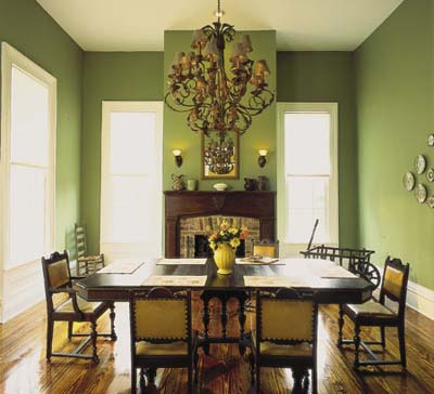 Green Victorian Dining Room