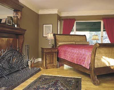 Brown walls pink bed