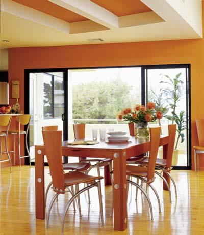 Orange ceilings and walls