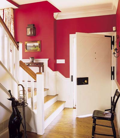 red entry hall