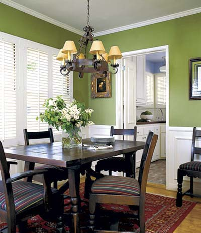 Green dining room blue kitchen