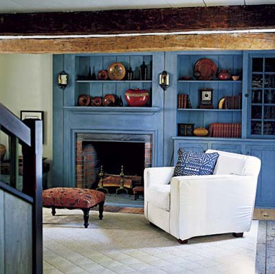 Blue-stained shelves and mantel