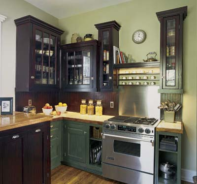 Green Shaker style kitchen cabinets