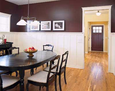brown walls with white wainscoting