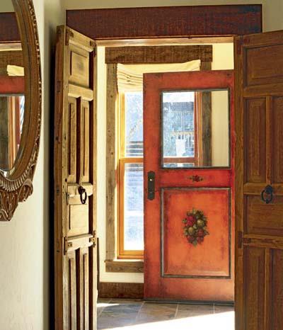 bright orange mexican door