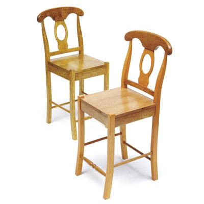 two chairs with two different clear finishes