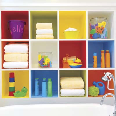 kid's bathroom cubbies for bath toys, towels, soaps and shampoos