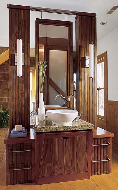 Playing Off A Vertical Design Theme Bath Lighting This