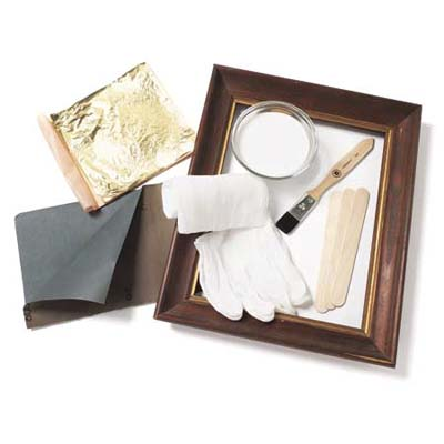an entire kit plus frame for gilding wood with gold leaf