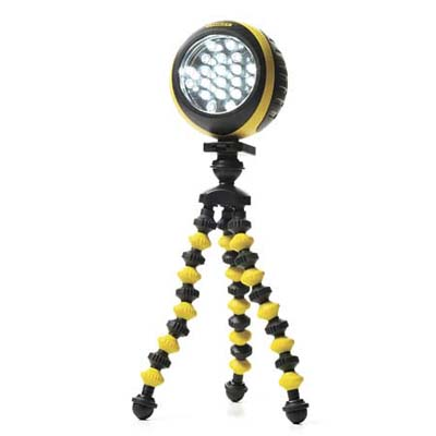 a flexible work light with a bendable tripod base