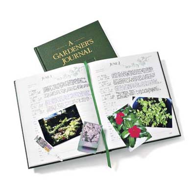 a gardening journal with snapshots inside