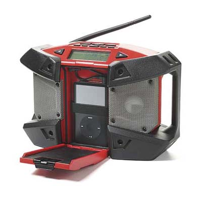 a portable radio with compartment for an mp3 player made especially sturdy for a jobsite