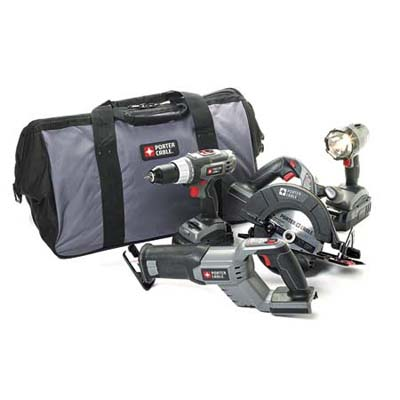 a starter kit of power tools, includes driver, circular saw, flashlight and reciprocating saw