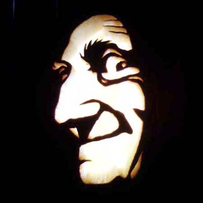 marty feldman carved on a pumpkin