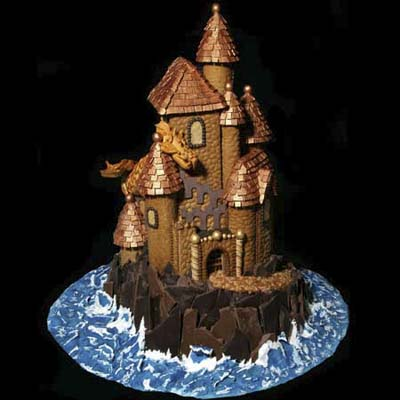 gingerbread castle with rice crizpy and chocolate detail