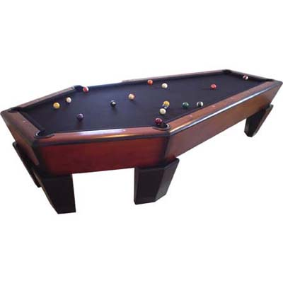 pool table in shape of a coffin