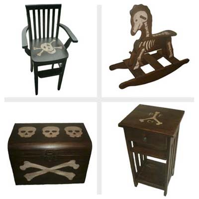 pirate chair, pirate side table with shelves and drawer, pirate rocking chair, and skull-and-bones rocking horse