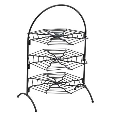 three-tier stand with each level shaped as a spider web