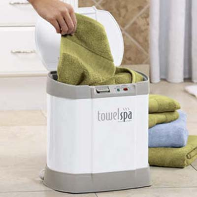 the towel spa heats a bath towel in five minutes