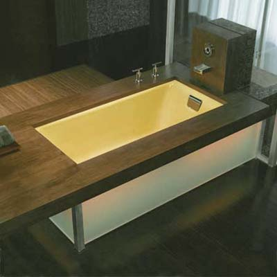 kohler tub with flush-mounted overflow makes sharing a bath more comfortable