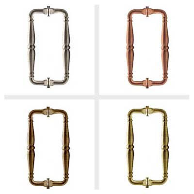victorian-Style, solid brass, back-to-back pull pandle adds a touch of whimsy to a shower and is especially suited for baths in historical homes